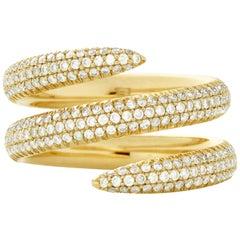 Eva Fehren Snake Ring in 18 Karat Yellow Gold with White Diamonds