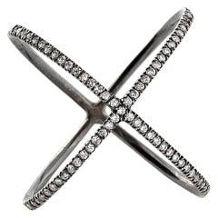 Eva Fehren X Ring in 18 Karat Blackened White Gold with White Diamond Pavé
