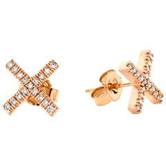 Eva Fehren X-Stud Earrings in 18 Karat Rose Gold with Pale Champagne Diamonds