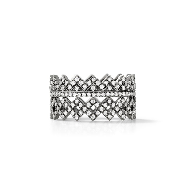 Contemporary Eva Fehren Ziggy Band in 18 Karat Blackened White Gold with White Diamond Pavé For Sale