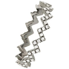 Eva Fehren Ziggy Band in 18 Karat Blackened White Gold with White Diamond Pavé