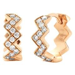 Eva Fehren Ziggy Huggies in 18 Karat Rose Gold with White Diamonds