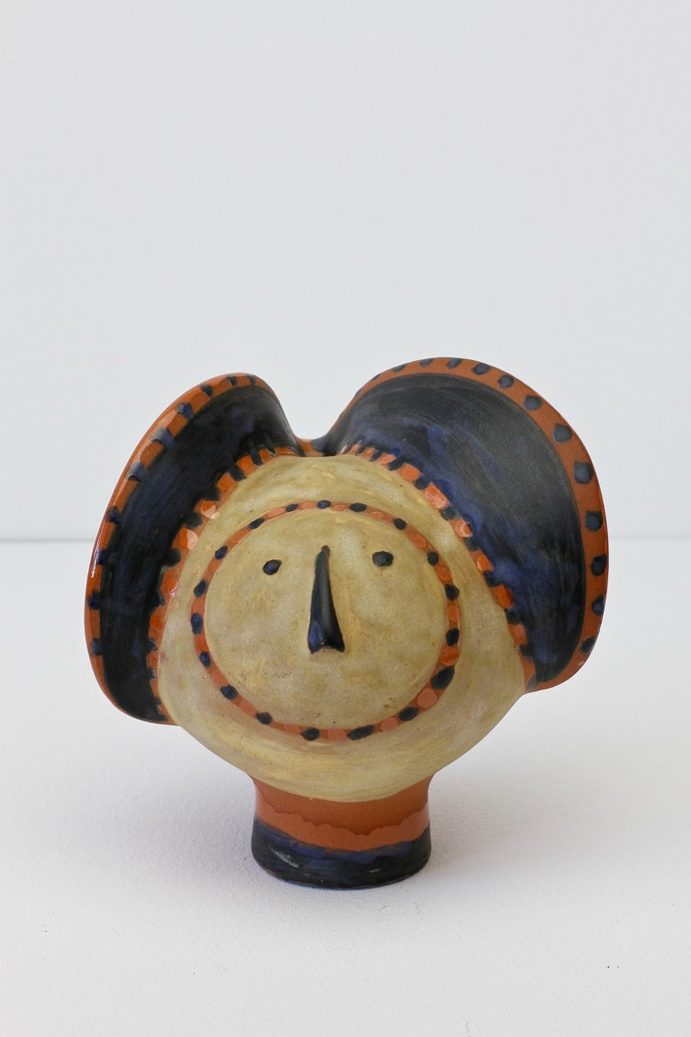 Eva Fritz-Lindner (1933-2017) handmade and hand-painted whimsical 'Elephant'/'Face' sculpture. Date of exact manufacture is currently unknown but we estimate to be circa 1970s. 