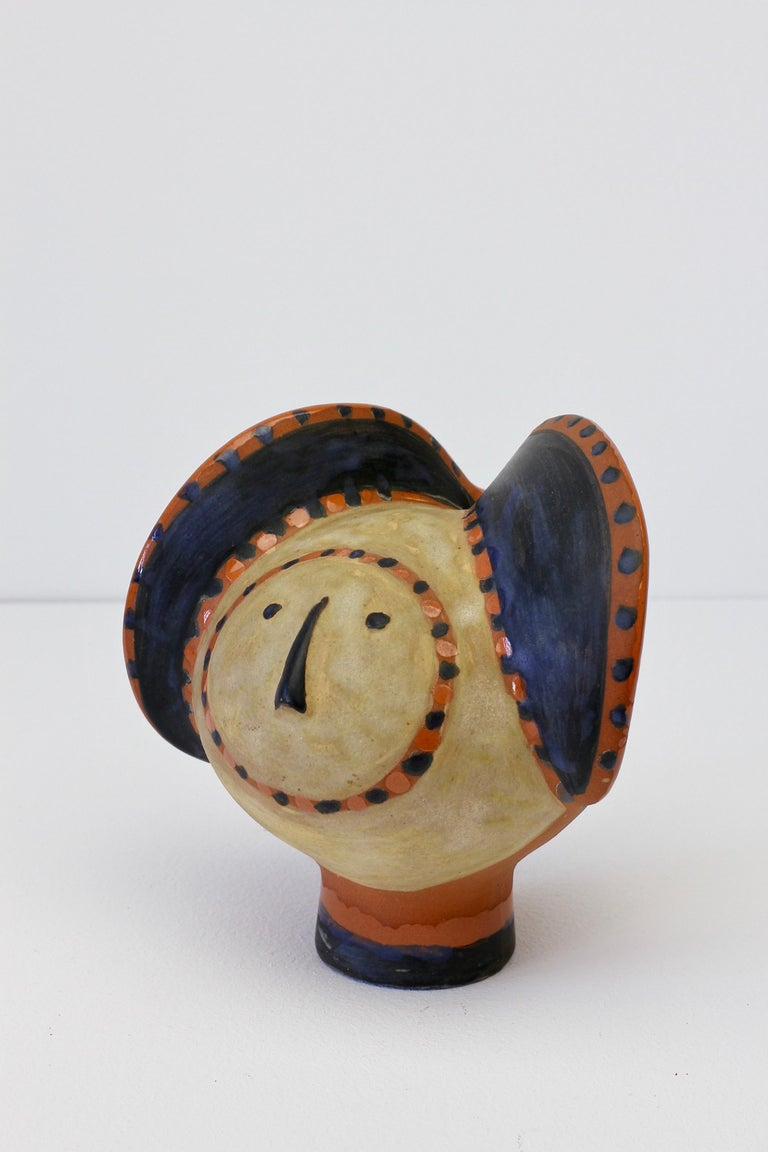 Mid-Century Modern Eva Fritz-Lindner Signed Hand-Painted 'Elephant' German Art Pottery Sculpture For Sale