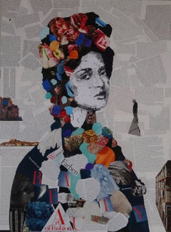Woman portrait collage, Mixed Media on Wood Panel