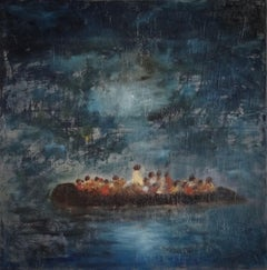 Boat at night, Painting, Oil on Canvas