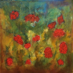 Red Carnation Flowers, Painting, Oil on Canvas