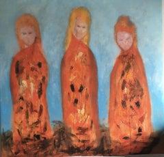 Three little girls, Painting, Oil on Canvas