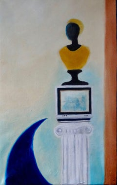 Watching TV, Painting, Oil on Canvas