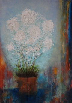 White Flowers, Painting, Oil on Canvas