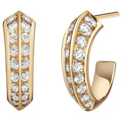 Eva Huggie Hoops, Knife Edge Yellow Gold and Diamond Hoops