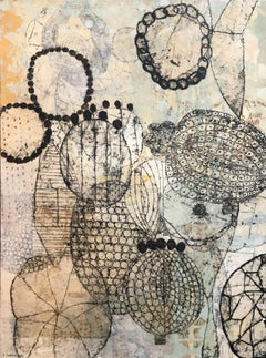 """""""Seeds and Beads"""", Contemporary, Mixed Media, Collage, Canvas, Printmaking"""