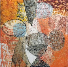 """Orange Core"", Collage on Canvas"