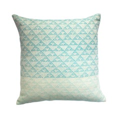 Eva Ivory & Turquoise Hand Embroidered Modern Geometric Throw Pillow Cover