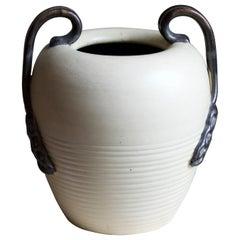 Eva Jancke Björk, Sizable Vase, Glazed Stoneware, for Bo Fajans, Sweden, 1940s