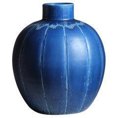 Eva Jancke Björk, Vase, Blue Glaze Stoneware, for Bo Fajans, Sweden, 1940s