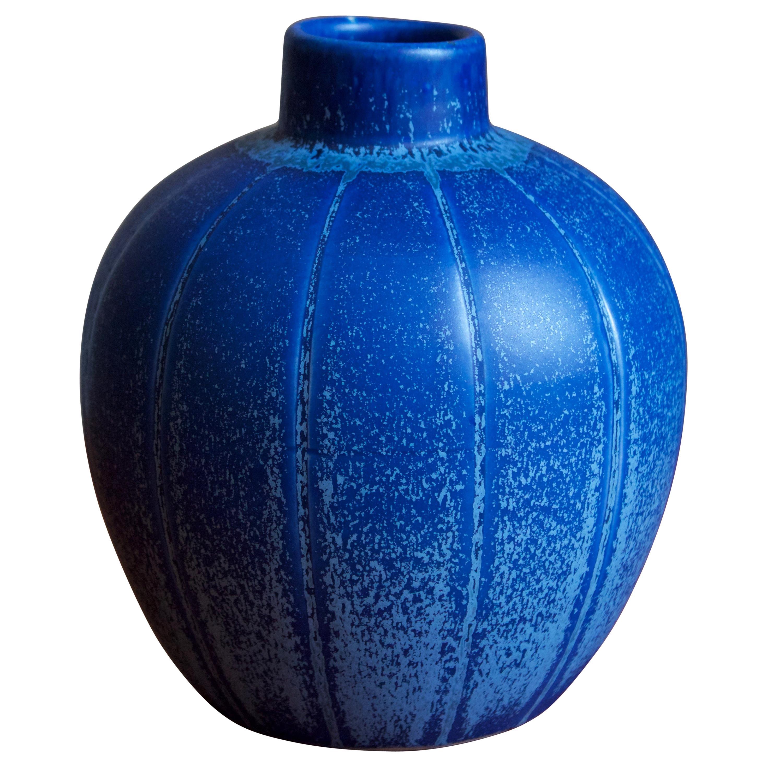 Eva Jancke Björk, Vase, Blue Glaze Stoneware, for Bo Fajans, Sweden, 1948