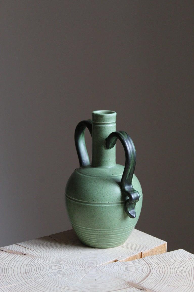 Art Deco Eva Jancke Björk, Vase, Brown Glaze Stoneware, for Bo Fajans, Sweden, 1930s