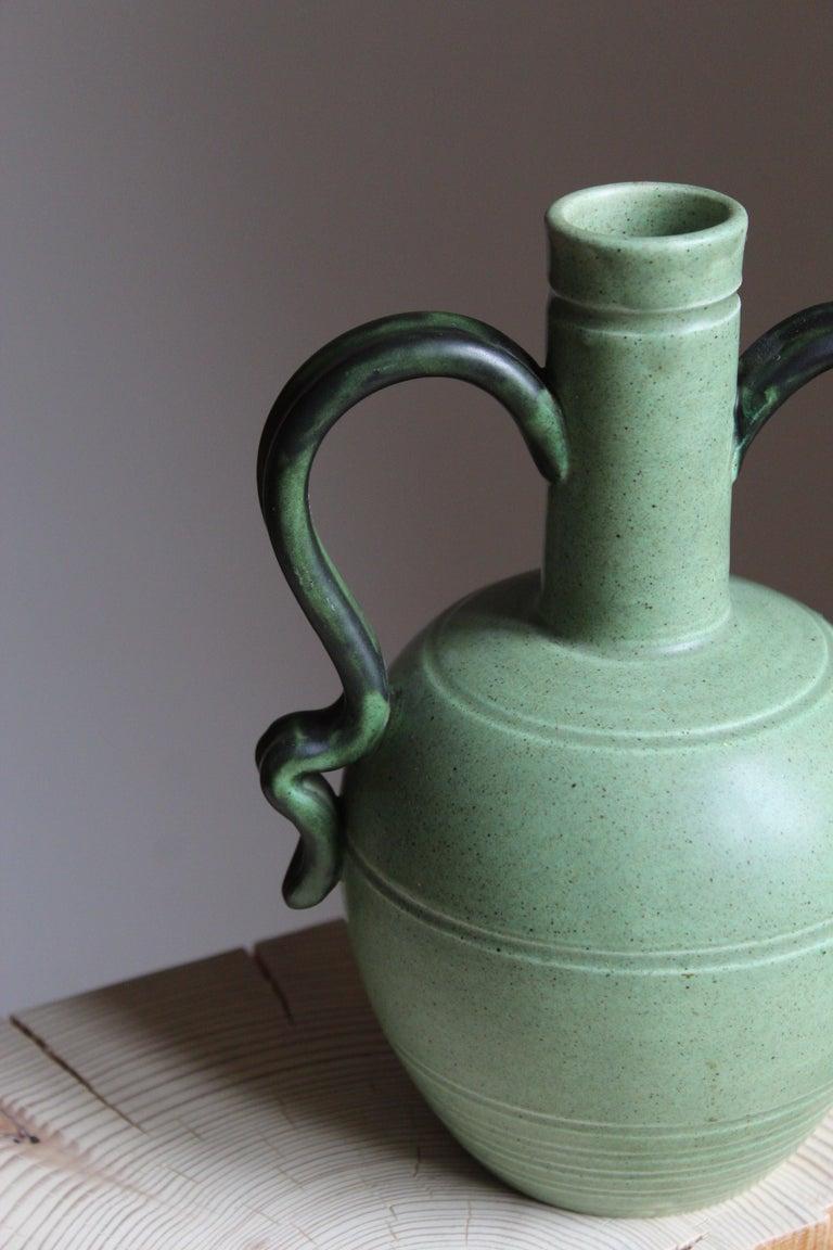 Swedish Eva Jancke Björk, Vase, Brown Glaze Stoneware, for Bo Fajans, Sweden, 1930s