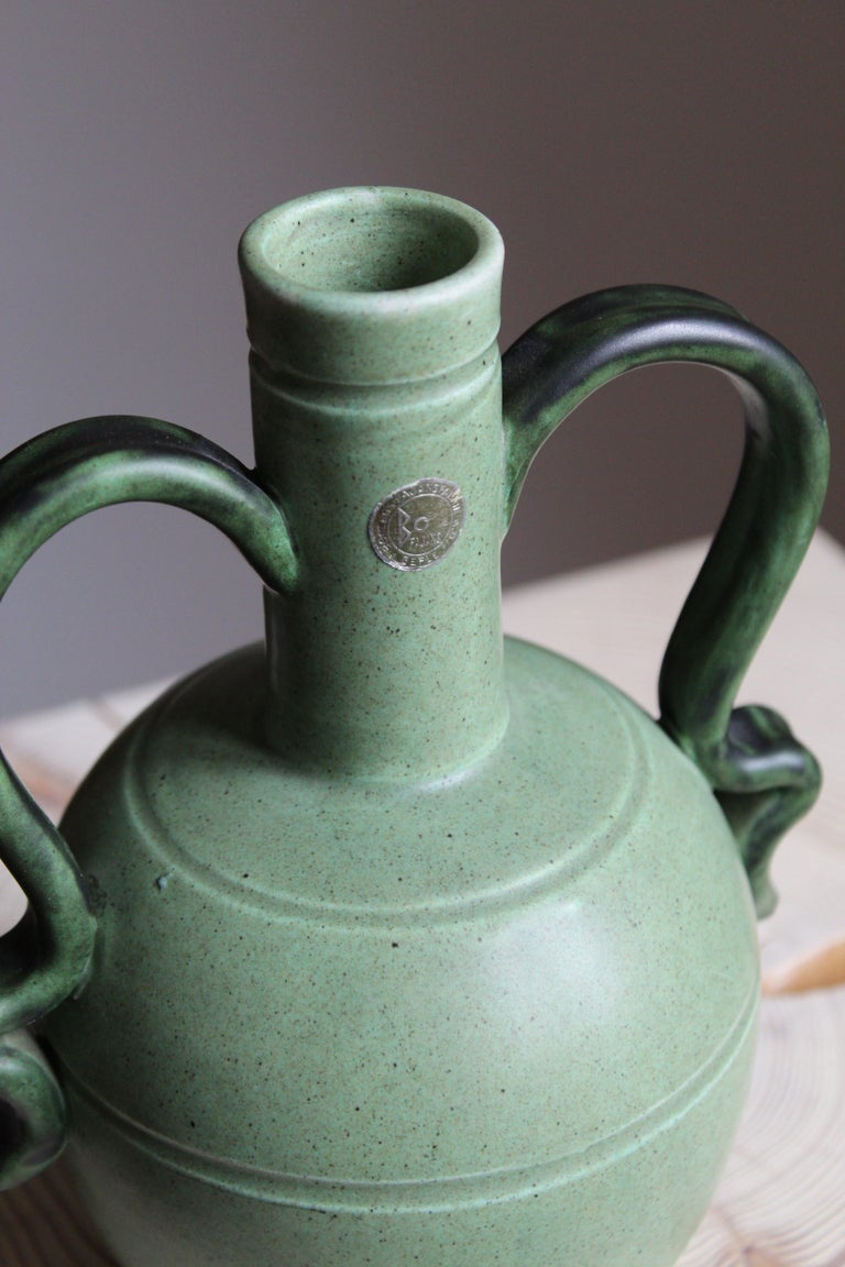 Mid-20th Century Eva Jancke Björk, Vase, Brown Glaze Stoneware, for Bo Fajans, Sweden, 1930s