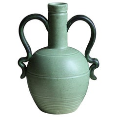 Eva Jancke Björk, Vase, Brown Glaze Stoneware, for Bo Fajans, Sweden, 1930s