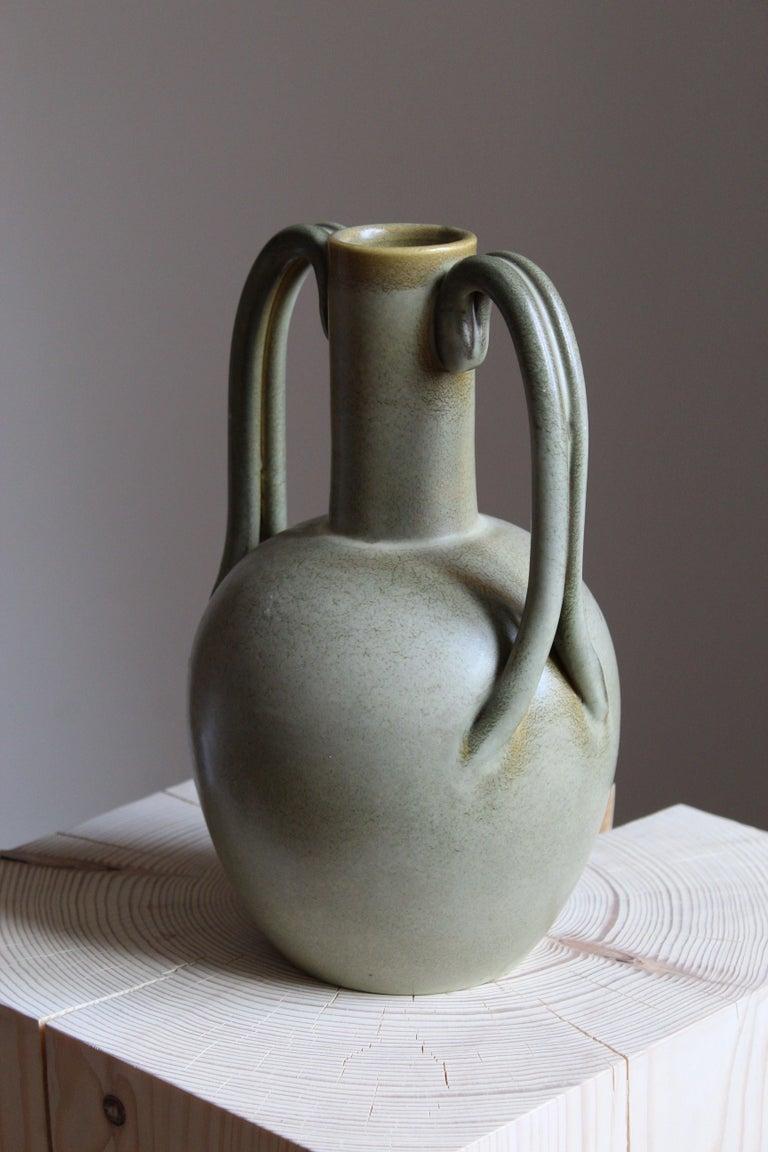An early modernist vase. Designed by Eva Jancke Björk, for Bo Fajans, Sweden, 1930s.  Stamped.  Other designers of the period include Ettore Sottsass, Carl Harry Stålhane, Lisa Larsson, Axel Salto, and Arne Bang.