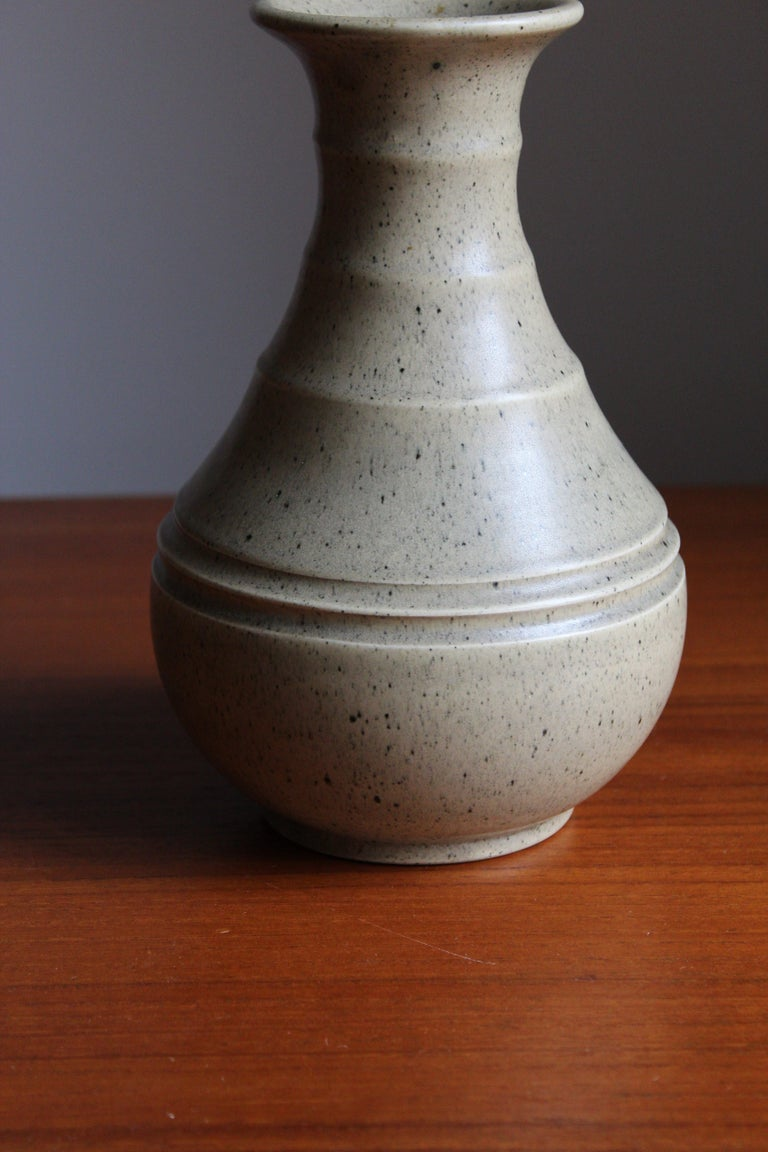 Art Deco Eva Jancke Björk, Vase, Glazed Stoneware, for Bo Fajans, Sweden, 1930s For Sale