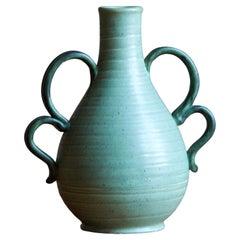 Eva Jancke Björk, Vase, Green Glaze Ceramic, for Bo Fajans, Sweden, 1940s