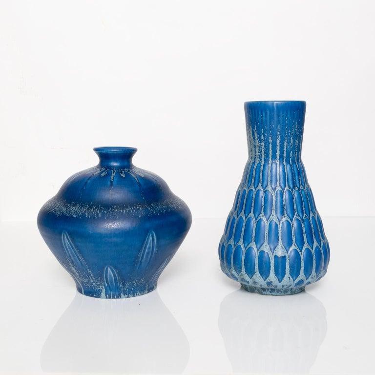 20th Century Eva Jancke-Björk Vase with Blue Glaze, from Bo Fajans, Sweden
