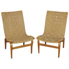 """Eva"" Lounge Chairs by Bruno Mathsson, circa 1940 Hand Signed ""BM 41"""