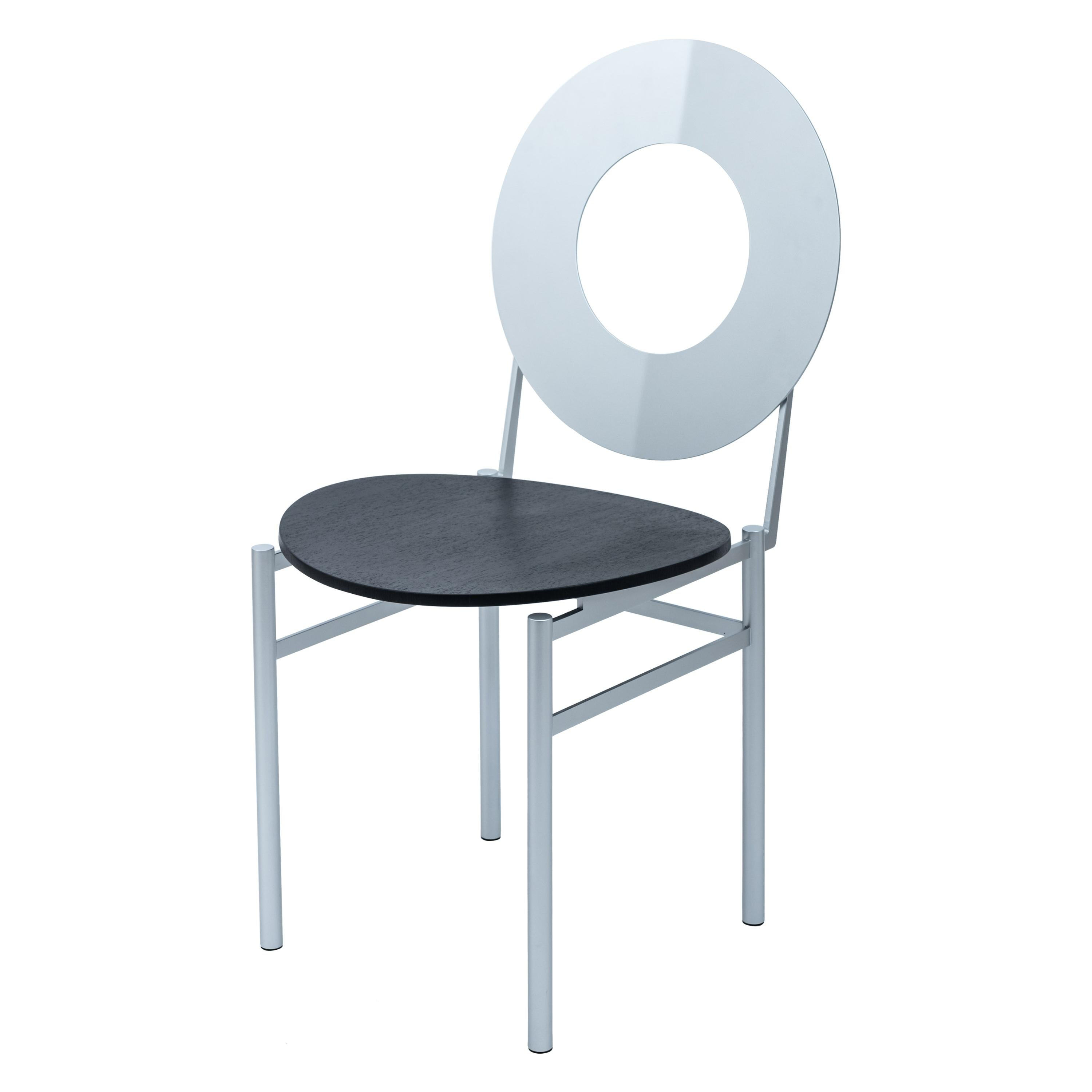 Eva Luxury Chair, Wooden Seat, Metal Structure and Back, Made in Italy