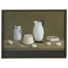 Eva Marinelli Martino White Porcelain Oil Canvas Painting