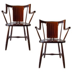 Eva & Nils Koppel, Pair of Danish Modern Stained Beech and Mohair Armchairs