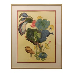 Green, Blue, Yellow, and Pink Botanical Still Life with Bird Watercolor Painting