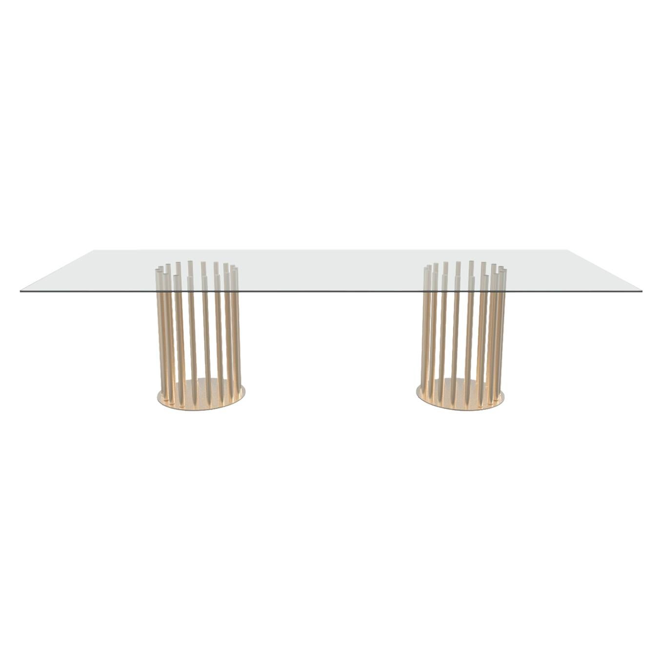 Ela Rectangular Luxury Table, Metal Round Base and Glass Top, Made in Italy