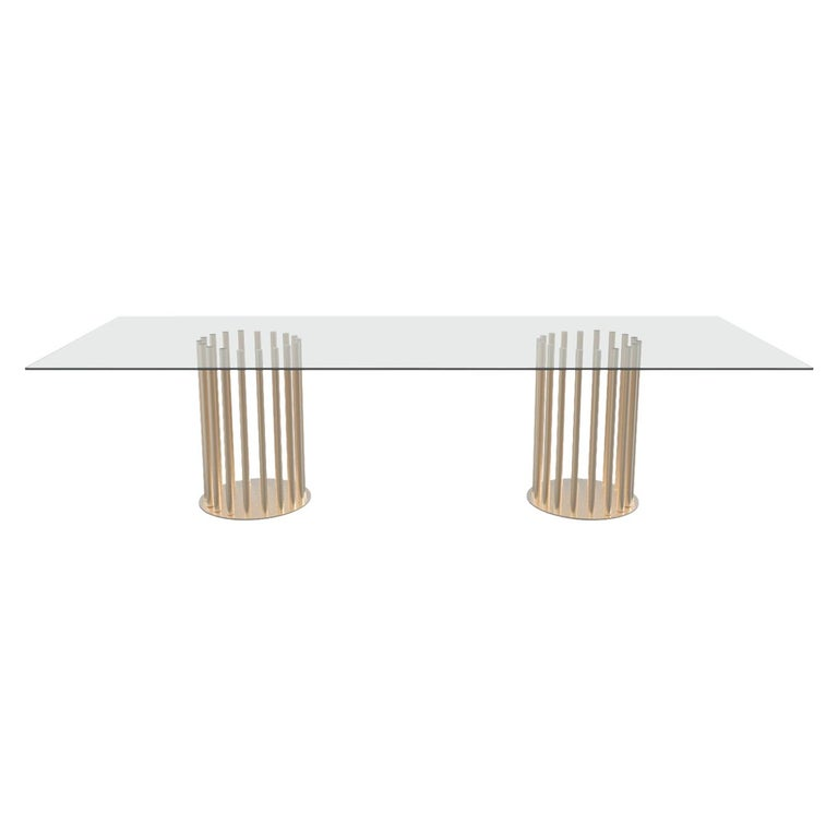 Ela Rectangular Luxury Table, Metal Round Base and Glass Top, Made in Italy For Sale