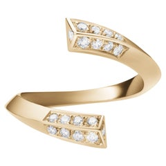 Eva Ring in Yellow Gold with White Diamonds by Selin Kent