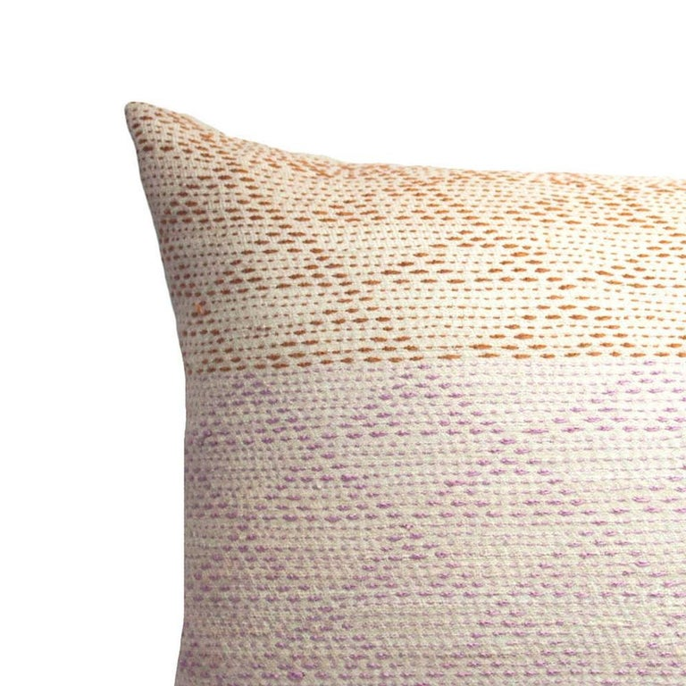Indian Eva Rust & Pink Hand Embroidered Modern Geometric Throw Pillow Cover For Sale