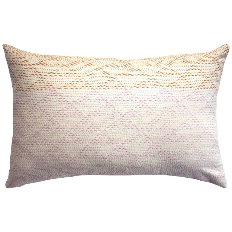 Eva Rust & Pink Hand Embroidered Modern Geometric Throw Pillow Cover For Sale