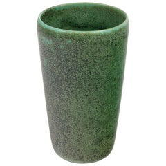 Eva Staehr Nielsen Green Glazed Stoneware Vase #112 for Saxbo, Denmark 1950s