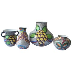 Eva Zeisel Ceramic/Majolica Vases by SMF Schramberg, Set of 4, Marked