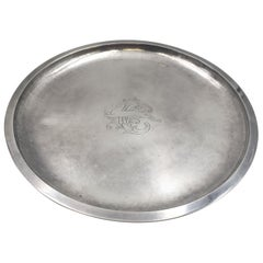 Evald Nielsen Danish Silver Round Bar Tray / Plate with Chased Design