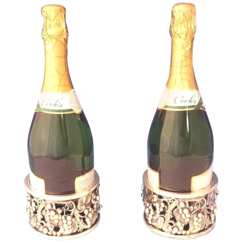 Evald Nielsen Danish Sterling Silver Wine Coasters Pair Grape Motif Hollowware