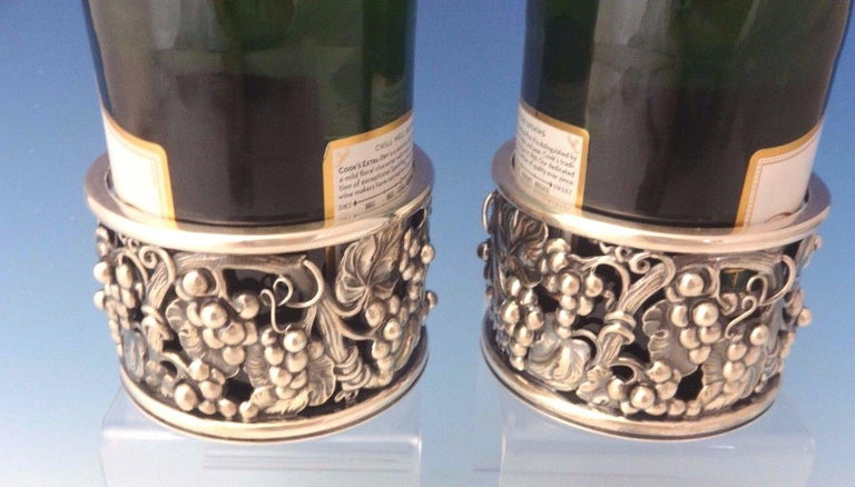 Evald Nielsen Danish Sterling Silver Wine Coasters Pair with Grape Motif For Sale 1