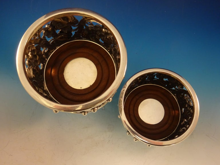 Evald Nielsen Danish Sterling Silver Wine Coasters Pair with Grape Motif For Sale 5