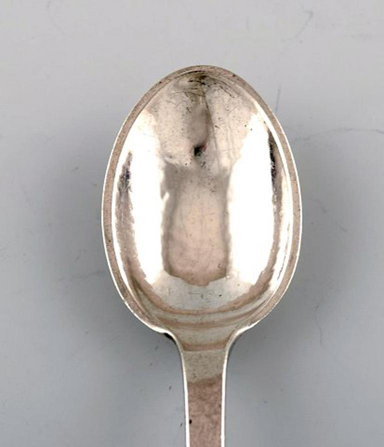 Art Nouveau Evald Nielsen Number 6, Large Tea Spoon in Full Silver, 1920s, 7 Pieces For Sale