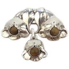 Evald Nielsen Skonevirke Danish Art Deco 830 Silver and Nephrite Jade Brooch