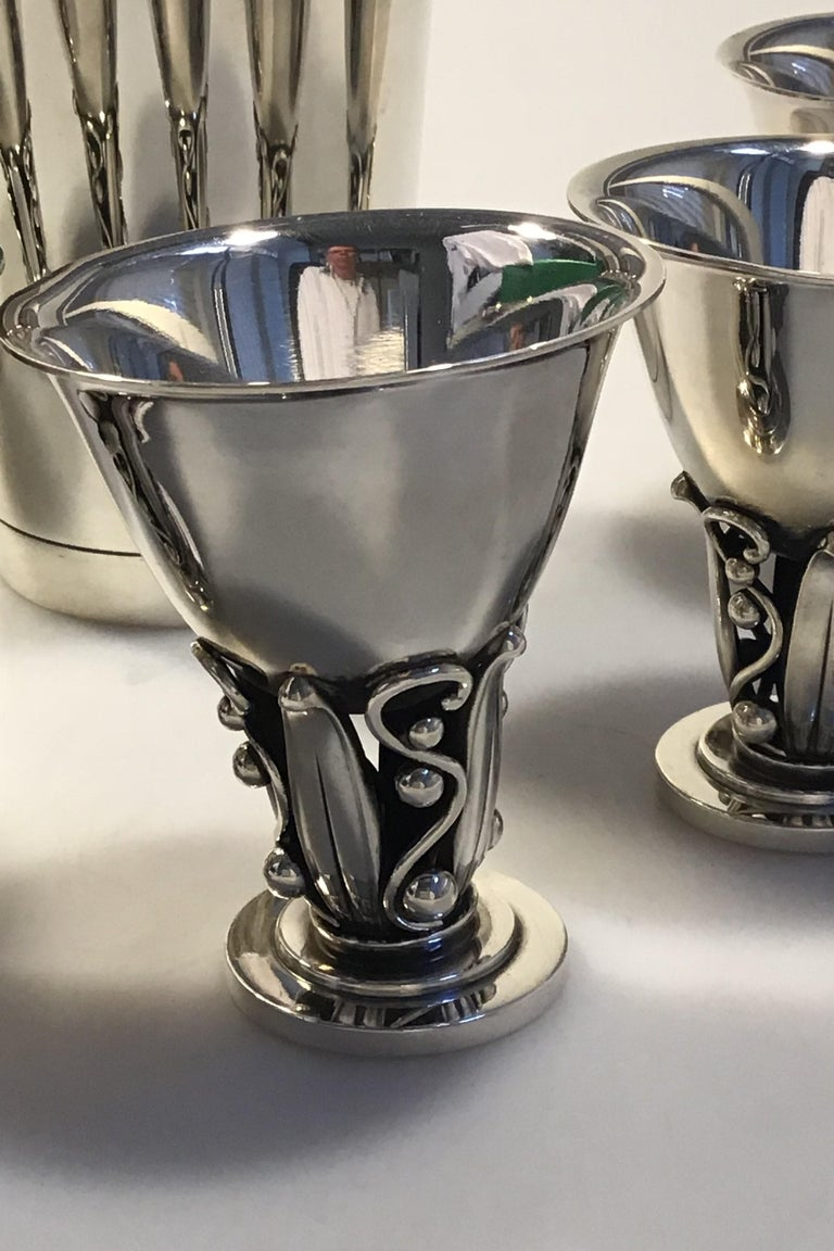 Danish Evald Nielsen Sterling Silver Cocktailshaker and Six Drinking Cups For Sale