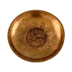 Evan Jensen, Denmark, Art Deco Bowl in Bronze with Leaping Deer, 1940s