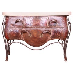 Evan Lewis Modern French Louis XV Marble Top Copper Bombe Chest